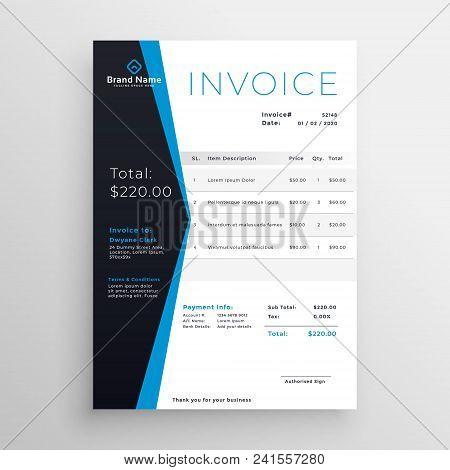 Blue Modern Invoice Template Design Vector Illustration