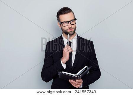 Writer Thinker Author Journalist Essay Concept. Portrait Of Pensive Smart Clever Intelligent Inspire