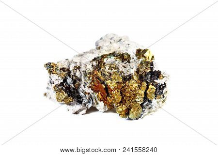 Macro Shooting Of Natural Gemstone. Mineral Datolite With Quartz. Isolated Object On A White Backgro