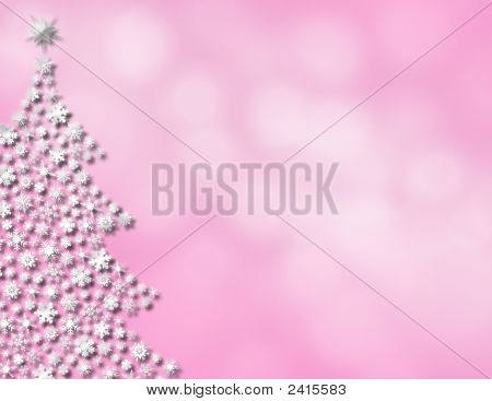 Pink Glowing Scene With White Tree
