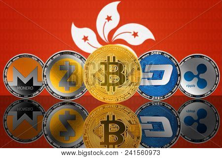 Cryptocurrency Coins On The Background Of The Flag Of Hong Kong. Bitcoin (btc), Monero (xmr), Zcash