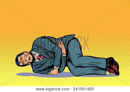 Man Lies Hurts Stomach. Pop Art Retro Vector Illustration Comic Cartoon Kitsch Drawing