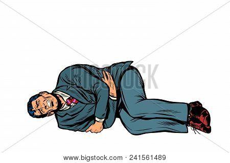 Man Lies Hurts Stomach. Isolate On White Background. Pop Art Retro Vector Illustration Comic Cartoon