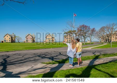 Couple Of Tourists Sightseeing At Gateway National Recreation Area,  Sandy Hook