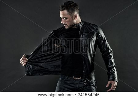 Style And Trend. Bearded Man Undress Leather Jacket. Man With Beard On Unshaven Face. Fashion Model
