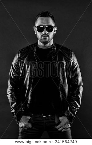 Bearded Man In Leather Jacket And Jeans. Man In Trendy Sunglasses. Fashion Model In Casual Style Clo
