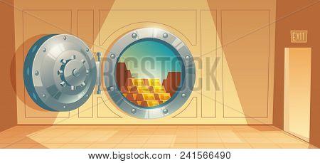 Vector Cartoon Illustration Of Bank Vault, Metallic Iron Safe Door. Gold, Cash, Currency Inside Of R