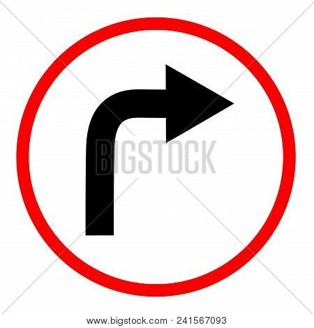 Turn Right Sign On White Background. Turn Right Symbol. Flat Style. Turn Right Ahead Sign. Traffic S