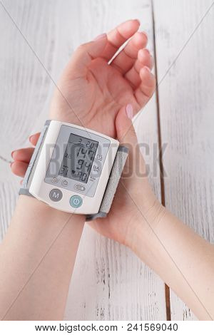 To Measure Blood Pressure Close Up View