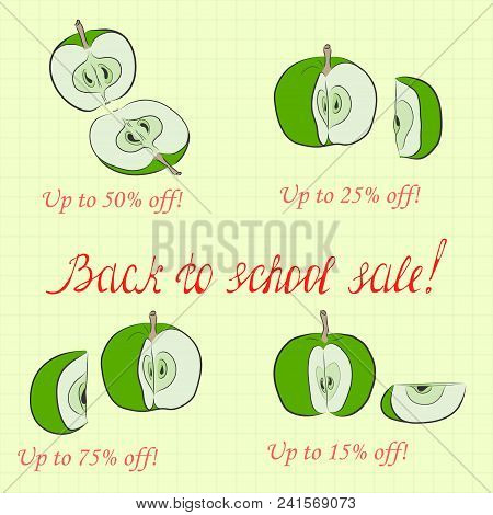 Back To School Sale Pictured As Divided Apples And Handwritten Lettering. Background Made As Square