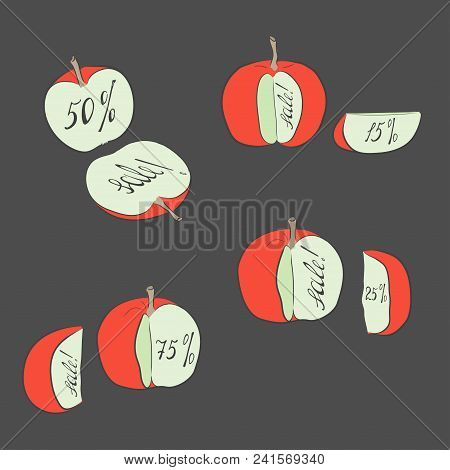 Set With Divided Red Apples Representing Sale Discounts. Bright Red Apples On The Dark Grey Backgrou