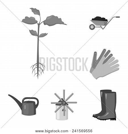 Farm And Gardening Monochrome Icons In Set Collection For Design. Farm And Equipment Vector Symbol S