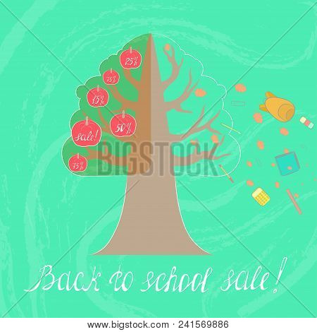 Concept Image Of Back To School Sale Season Showed As Tree With Fruits And Flying School Supplies. R