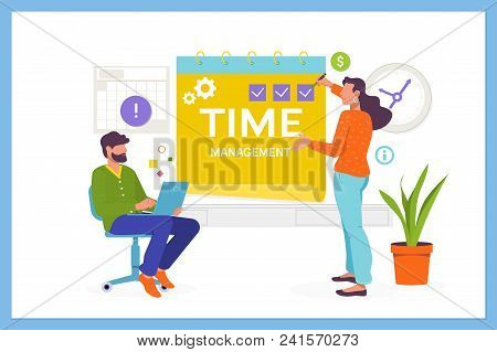 Time Management, Planning And Organization Of Working Time.easy To Edit And Customize. Flat Vector I