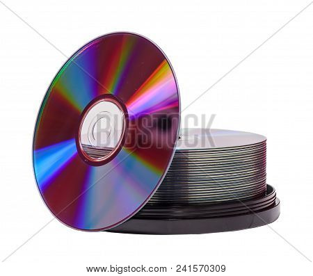 Two Stacks Of Empty Dvd-r Disks Isolated On White Background
