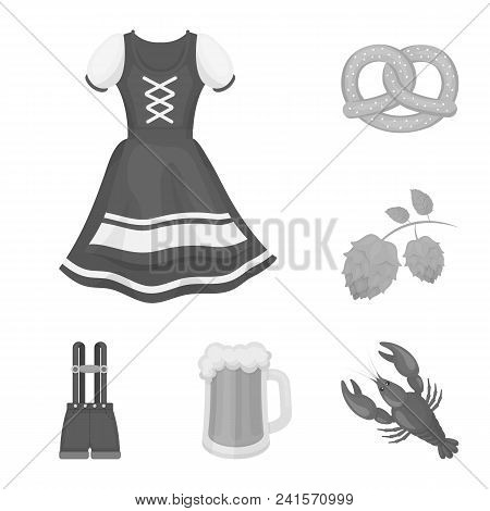 October Festival In Munich Monochrome Icons In Set Collection For Design.tradition And Fun Vector Sy