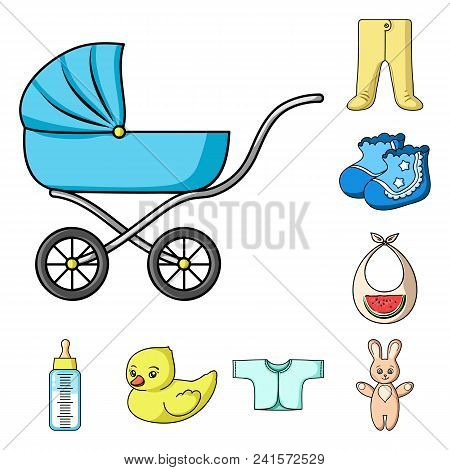 Birth Of A Baby Cartoon Icons In Set Collection For Design. Newborn And Accessories Vector Symbol St