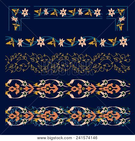 Oriental Pattern Border Set. Samrkand, Modern, Art Deco Style. It Applicable For Decoration Of Inter