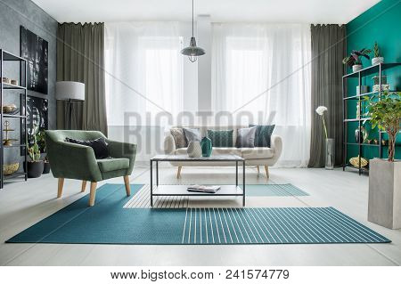 Green And White Spacious Interior