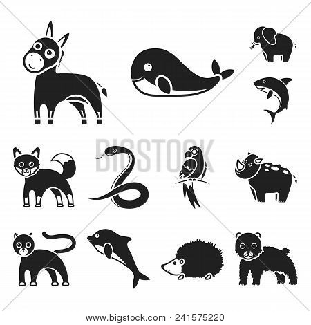 An Unrealistic Animal Black Icons In Set Collection For Design. Toy Animals Vector Symbol Stock Illu