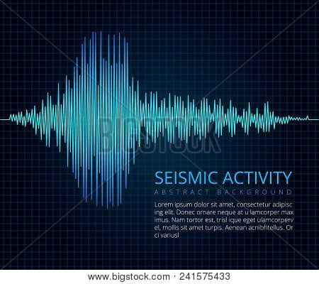 Earthquake Frequency Wave Graph, Seismic Activity. Vector Abstract Scientific Background. Diagram Se