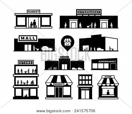 Shopping Mall Buildings Icons. Store Exteriors With People Pictograms. Shop Houses With Shoppers Vec