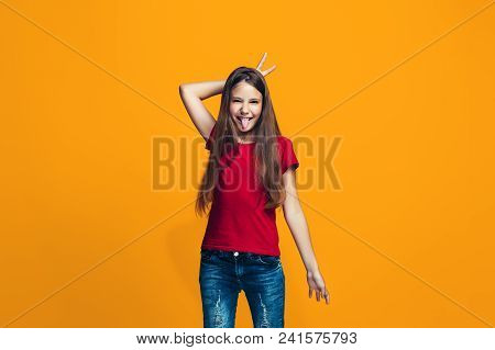 I Lost My Mind. The Teen Girl With Weird Expression. Beautiful Female Half-length Portrait Isolated
