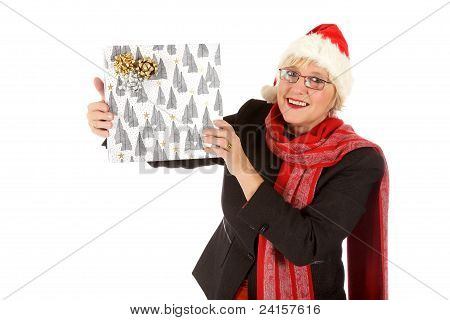 Happy Middle Aged Santa Woman, Gift