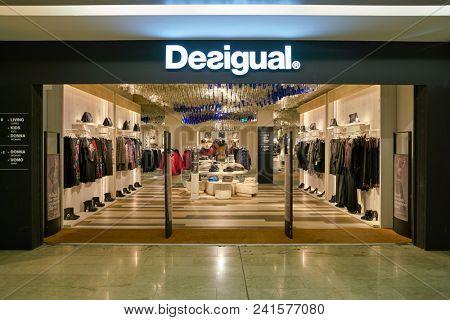 MILAN, ITALY - CIRCA NOVEMBER, 2017: Desigual clothing retail store in Milan.