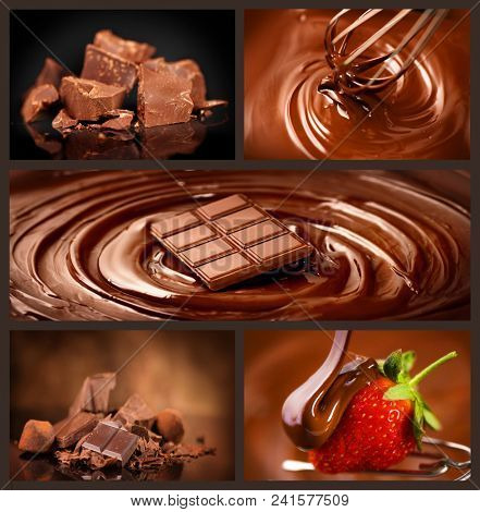 Chocolate collage set. Chocolate chunks, Candies, Sweets, Strawberry in chocolate. Design over dark Background. Various Chocolates, swirls, melted, pouring. Confectionery poster