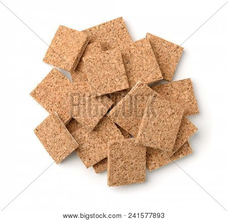 Top view of self-adhesive cork furniture protector pads isolated on white poster