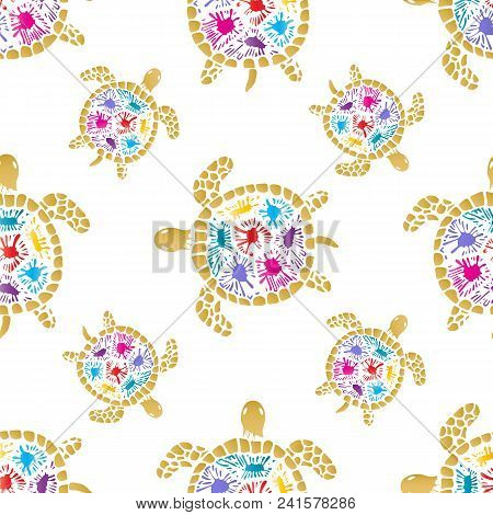 Sea Turtle With Colored Blots On The Shell Seamless Pattern