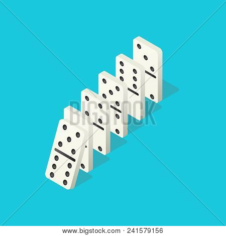Falling Dominoes. Domino Effect, Chain Reaction And Disaster Business Vector Concept. Action And Rea
