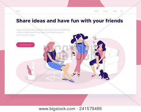 Relationship, Online Dating And Social Networking Concept - Girls Holding Mobile Phones Chat And Sha