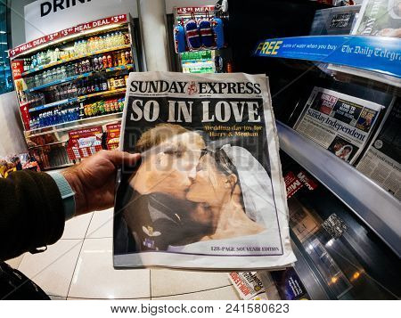 London, England - May 20, 2018: Pov The Sunday Express Front Cover Newspaper In British Press Kiosk