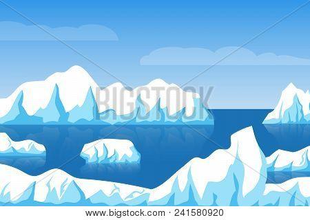 Cartoon Winter Polar Arctic Or Antarctic Ice Landscape With Iceberg In Sea Vector Illustration. Ice