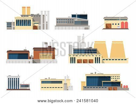 Industrial Factory And Manufacturing Plant Exterior Flat Vector Icons For Industry Concept. Illustra