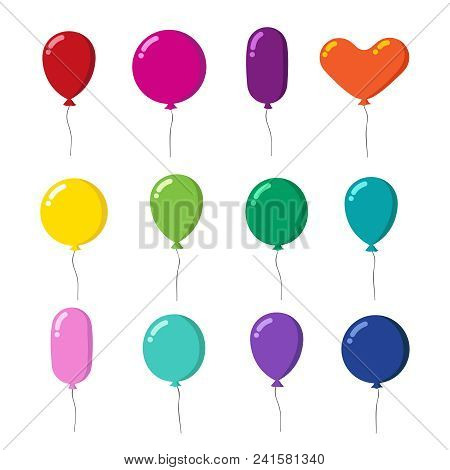 Color Rubber Flying Cartoon Balloons With String Vector Set Isolated On White Background. Illustrati