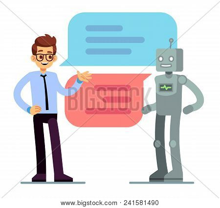 Man Chatting And Asking For Help Bot. Chatbot Vector Concept. Chat Bot Web Online Service, Robot Sup