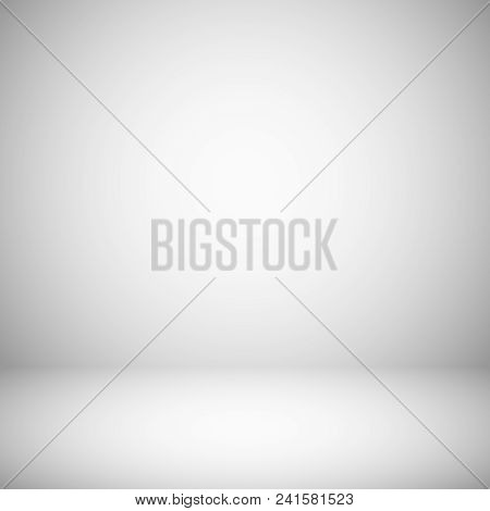 Empty White And Gray Light Studio Room Interior. 3d Plain Grey Soft Gradient Vector Background. Stud