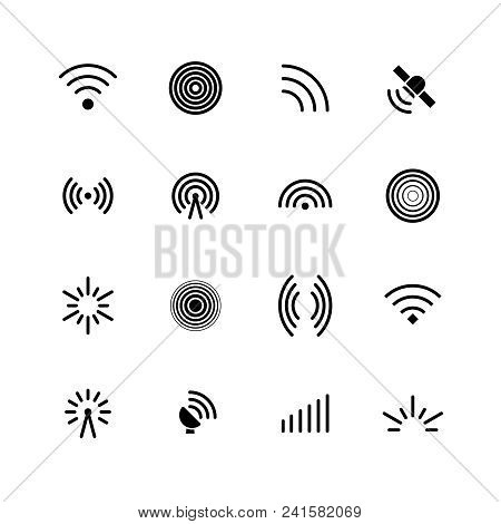 Wireless Wifi And Radio Signals Icons. Antenna, Mobile Signal And Wave Vector Symbols Isolated. Radi