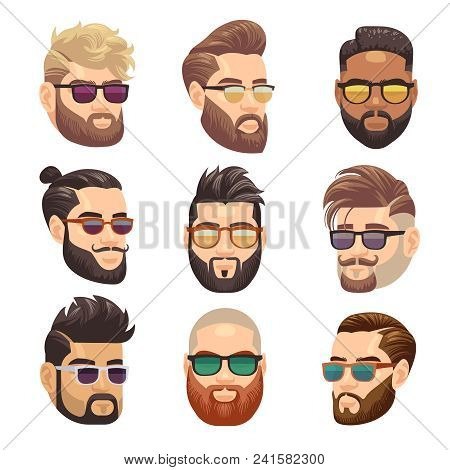 Cartoon Bearded Hipster Man And Male Hairstyle Vector Set. Hipster Male With Beard And Fashion Hairs