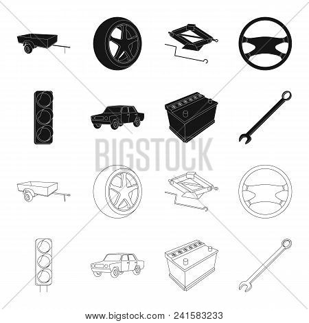 Traffic Light, Old Car, Battery, Wrench, Car Set Collection Icons In Black, Outline Style Vector Sym