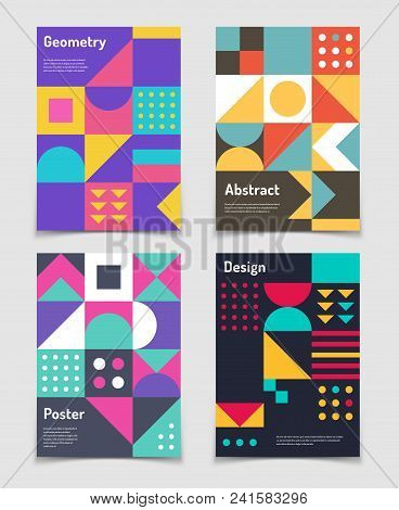 Retro Swiss Graphic Posters With Geometric Bauhaus Shapes. Vector Abstract Backgrounds In Old Modern