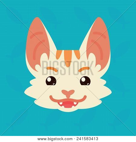 Cat Emotional Head. Vector Illustration Of Cute Kitty Shows Tricky Emotion. Evil Emoji. Smiley Icon.