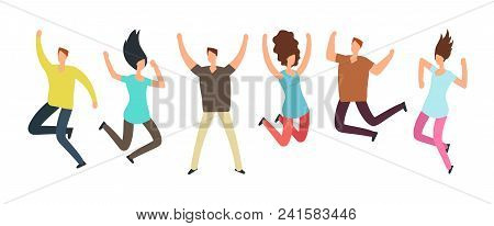 Happy Jumping Adult Friends. Group Of People In Jump. Healthy Active People And Friendship Vector Co