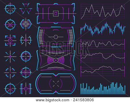 Futuristic Ui Design Hologram Screens. Chart, Graph, Interface Frames And Warning Regulators. Future