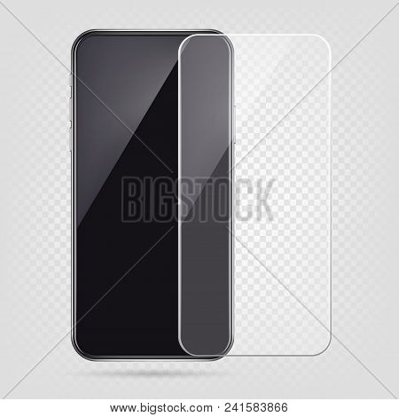 Realistic smartphone, screen protector film, cell phone transparent glass cover. Plastic protection against damage vector illustration. Protective cover for telephone, shield to display poster