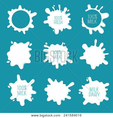 Cow Milk Blots, Splashes And Drops. Farm Fresh Dairy Product Vector Labels And Logos Isolated. Illus