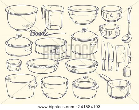 Doodle Cooking Equipment And Kitchen Utensils. Hand Drawn Vector Kitchenware Isolated. Bowl And Pot,
